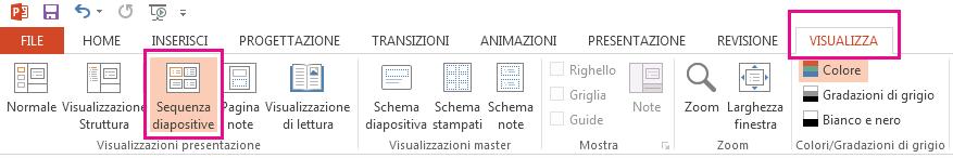 Nella scheda Visualizza fare clic su Sequenza diapositive.