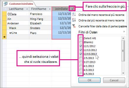 Applicazione del filtro a una colonna di query in un database desktop.