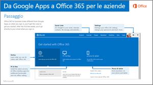 Anteprima della Guida per passare da Google Apps a Office 365