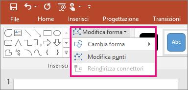 Visualizza l'opzione Modifica punti nel menu Modifica forma della scheda Strumenti disegno di PowerPoint.
