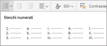 Opzioni del menu elenchi numerati in OneNote per il Web