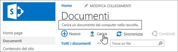 Raccolta documenti con il pulsante Carica evidenziato