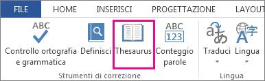 Comando Thesaurus in Strumenti di correzione nella scheda Revisione
