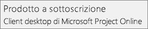 Schermata del nome del prodotto in Prodotto in abbonamento: Client desktop di Microsoft Project Online, come appare nella sezione File > Account di Project.