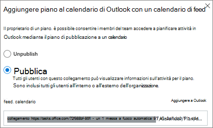 Screenshot della finestra di dialogo Aggiungi piano a calendario di Outlook