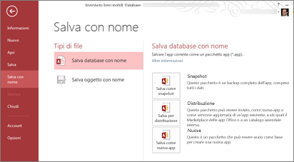 Opzioni di Salva database con nome nella schermata Salva con nome