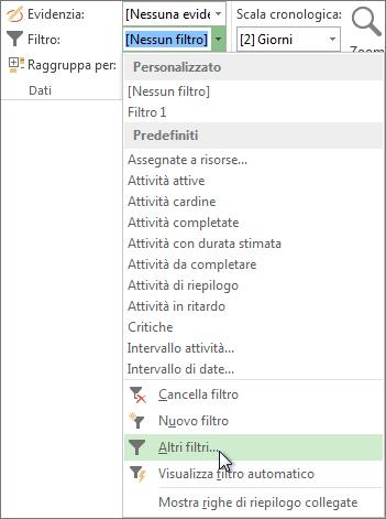 La barra multifunzione di Project, dalla quale è possibile creare un filtro personalizzato.