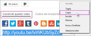 Copiare l'URL