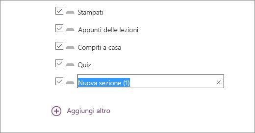 Esaminare le sezioni del blocco appunti nella procedura guidata, inclusi Stampati, Appunti di classe, Compiti a casa e Quiz.