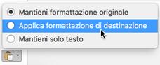 Opzioni Incolla per incollare testo in Outlook per Mac