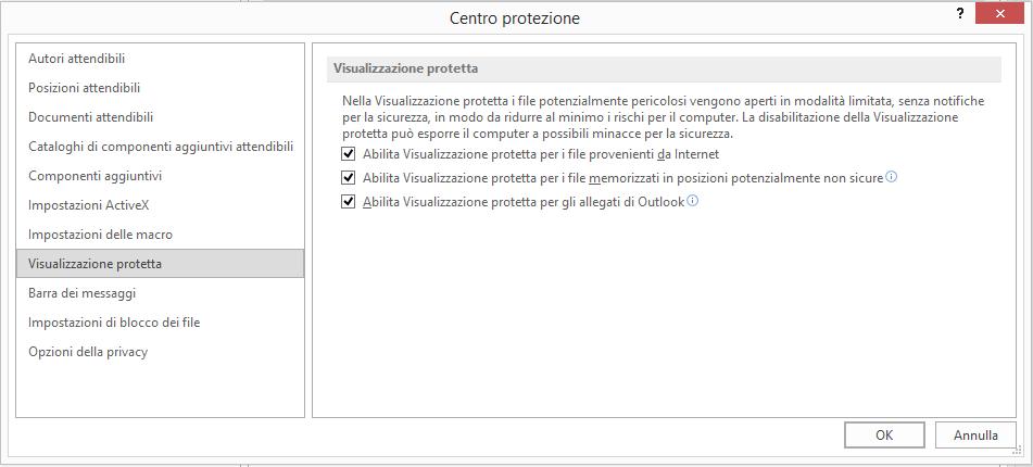 Impostazioni Visualizzazione protetta nel Centro protezione