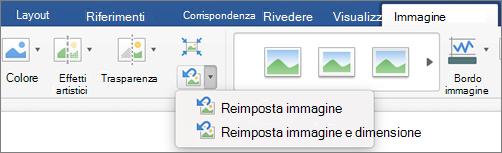 Fare clic su Reimposta sfondo nella scheda Formato immagine