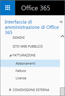 Collegamento alla pagina Abbonamenti in Office 365 Small Business Premium.