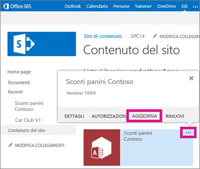 comando aggiorna sotto i puntini di sospensione relativi all'app nella pagina contenuto del sito
