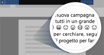 Documento con area ingrandita che mostra alcune emoji disponibili