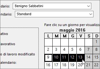 Giorni di ferie selezionati nel calendario