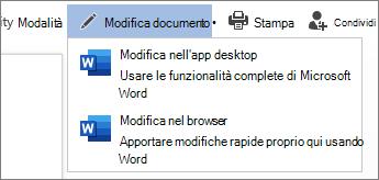 Selezionare modifica nel browser per modificare in Word per il Web