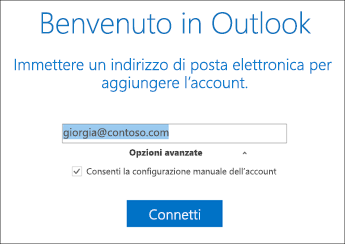 Consenti la configurazione manuale dell'account