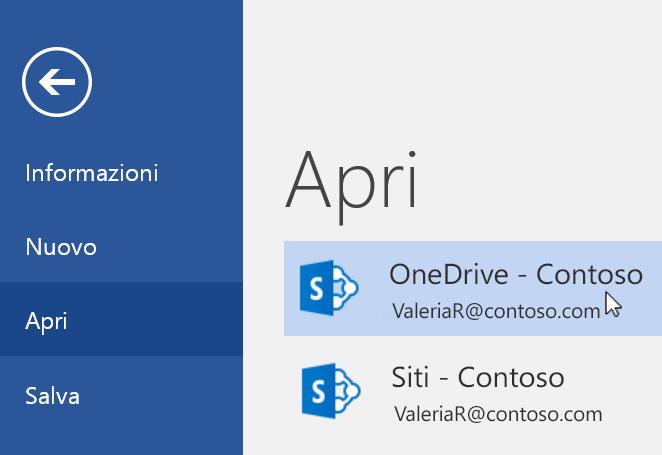 Screenshot del menu File > Apri in Word.