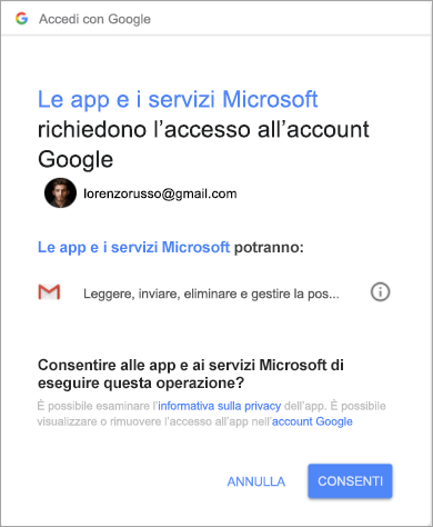 Mostra la finestra di autorizzazioni per Outlook per l'accesso all'account Gmail