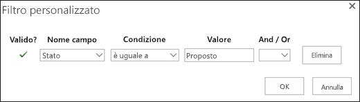 Configurare il filtro per le richieste di risorse proposte