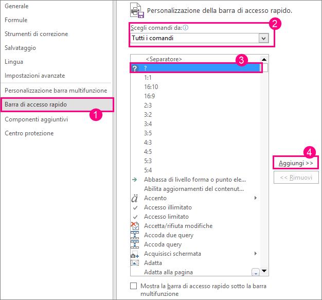 Passaggi per l'aggiunta del comando della Guida alla barra di accesso rapido