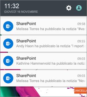 Esempio di notifica di notizie su dispositivi mobili