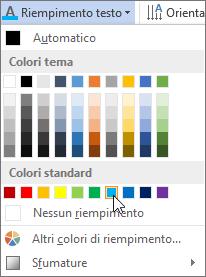 Scelta di un colore di riempimento per il testo