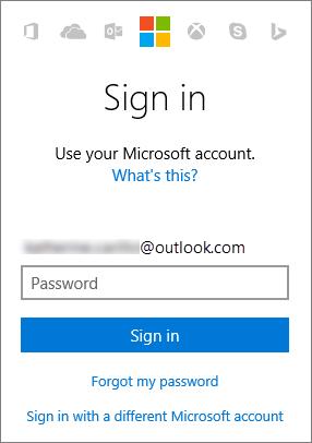 Screenshot della schermata di accesso all'account Microsoft