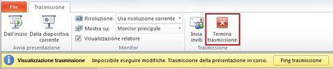 la scheda trasmissione viene visualizzata quando si trasmette una presentazione in powerpoint 2010.