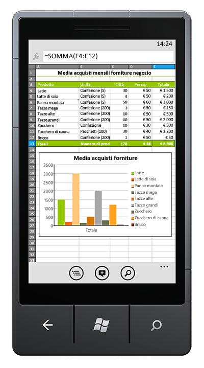 Cartella di lavoro di Excel aperta nel telefono