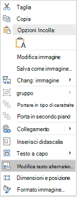 Dal menu Word Win32 modifica Alt testo per le immagini