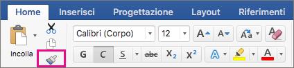 Opzione Copia formattazione da una posizione e applicala a un'altra evidenziata nella scheda Home.