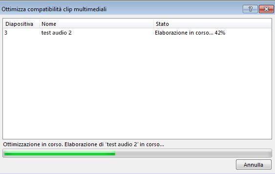 Finestra di dialogo Ottimizza compatibilità clip multimediali che mostra lo stato di elaborazione dell'ottimizzazione