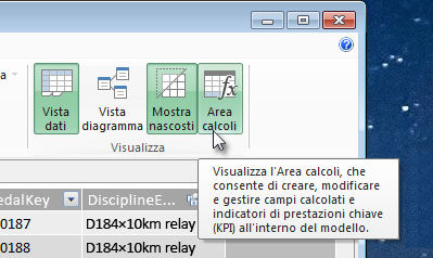Area calcoli in PowerPivot