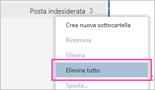 Screenshot dell'opzione Elimina tutto