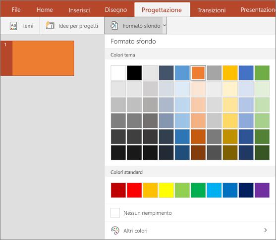 Mostra le opzioni di Formato sfondo nella scheda Progettazione di PowerPoint.