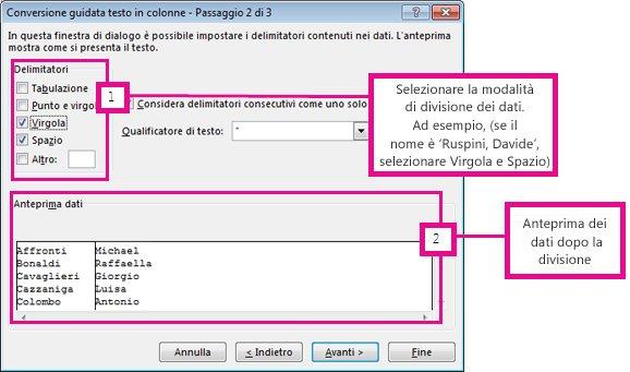 Dividere il testo in colonne diverse con la conversione for Disegno una finestra testo