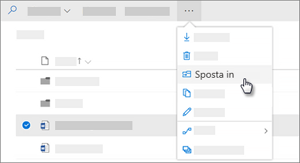 Screenshot che mostra lo spostamento al comando in OneDrive for Business