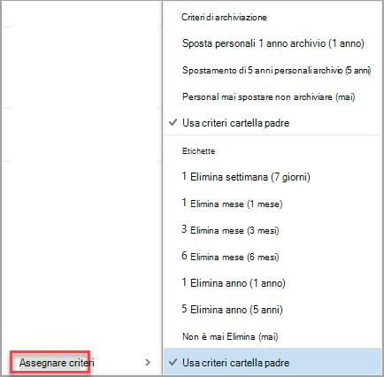 Fare clic con il pulsante destro del mouse su messaggio per assegnare le opzioni dei criteri