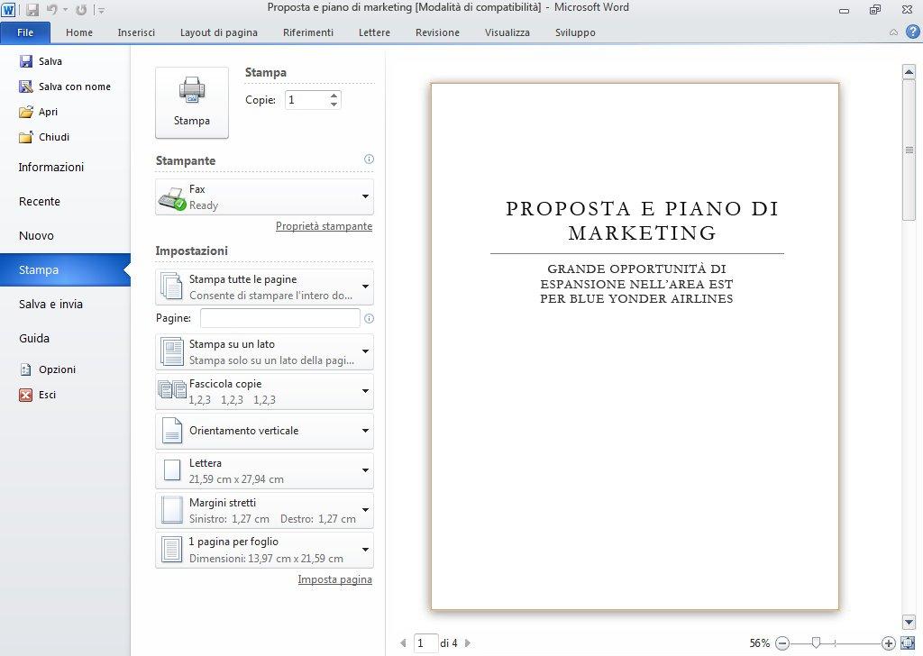 Jump list di Outlook 2010 sulla barra delle applicazioni di Windows 7