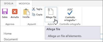 Scheda Modifica nella barra multifunzione con Allega file evidenziato.