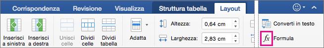 Se la finestra è larga, la formula viene visualizzata nella scheda Layout invece che nel menu Dati.