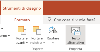 Pulsante testo alternativo sulla barra multifunzione per una forma e un video in PowerPoint online.