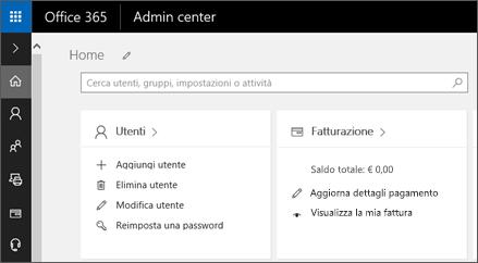 Mostra l'interfaccia di amministrazione di Office 365.