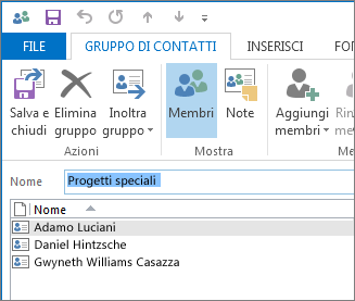 Il nuovo gruppo di contatti ora dovrebbe contenere degli utenti