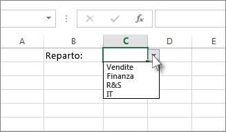 Esempio di elenco a discesa in Excel