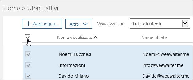 Scegliere la casella in alto per selezionare tutti gli utenti dell'organizzazione.