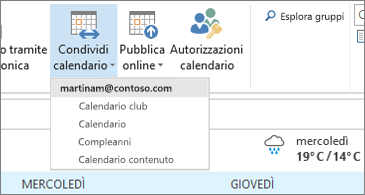 Elenco a discesa dei calendari che possono essere condivisi