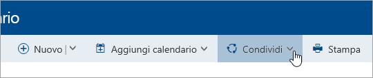 Screenshot del pulsante Condividi calendario nella barra di spostamento.